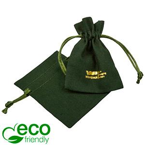 ECO Smykkepose i bomuld, mini Mørkegrøn økologisk bomuld med satinsnor 70 x 90