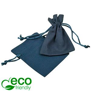 ECO Cotton Jewellery Pouch, Mini Dark blue organic cotton with satin drawstring 70 x 90