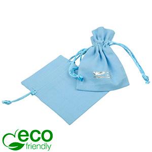 ECO Cotton Jewellery Pouch, Mini Light blue organic cotton with satin drawstring 70 x 90