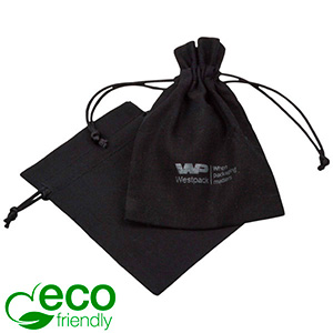 ECO Cotton Jewellery Pouch, Small Black organic cotton with satin drawstring 90 x 120