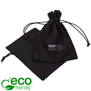 ECO Smykkepose i bomuld, lille Sort økologisk bomuld med satinsnor 90 x 120