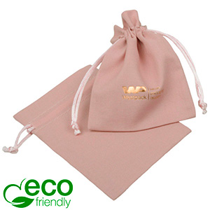 ECO Cotton Jewellery Pouch, Small Old rose organic cotton with satin drawstring 90 x 120