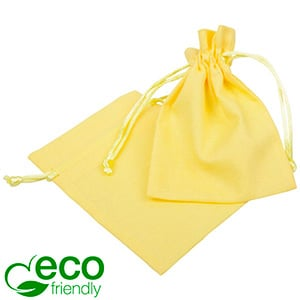 ECO Cotton Jewellery Pouch, Small Pastel yellow organic cotton with satin drawstring 90 x 120