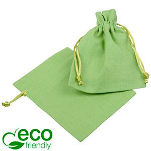 ECO Cotton Jewellery Pouch, Small Pistachio green organic cotton, satin drawstring 90 x 120