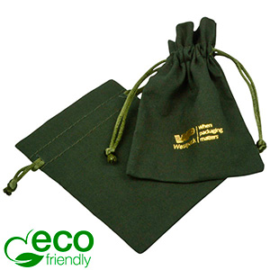 ECO Cotton Jewellery Pouch, Small Dark green organic cotton with satin drawstring 90 x 120