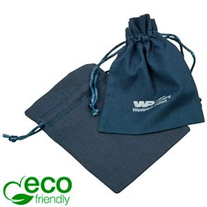 ECO Cotton Jewellery Pouch, Small Dark blue organic cotton with satin drawstring 90 x 120