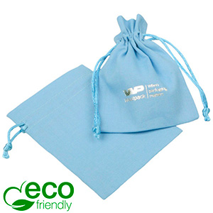 ECO Cotton Jewellery Pouch, Small Light blue organic cotton with satin drawstring 90 x 120