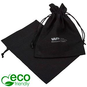 ECO Cotton Jewellery Pouch, Medium Black organic cotton with satin drawstring 120 x 170