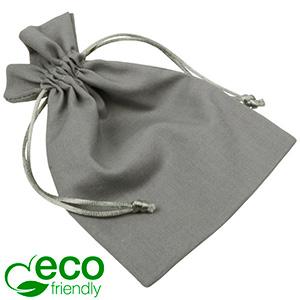 ECO Cotton Jewellery Pouch, Medium Grey organic cotton with satin drawstring 120 x 170