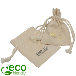 Luxury Fairtrade Cotton Jewellery Pouch, Small Natural Cotton with Braided Cord Drawstring 80 x 110