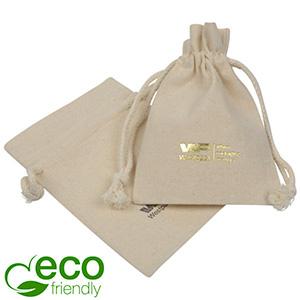 Luksus ECO smykkepose i Fairtrade Bomuld, medium Naturfarvet ekstra kraftig bomuld med flettet snor 100 x 140