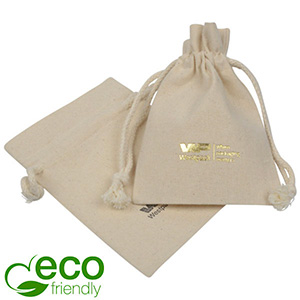 Luxury Fairtrade Cotton Jewellery Pouch, Medium Natural Cotton with Braided Cord Drawstring 100 x 140