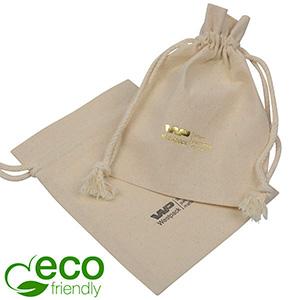 Luksusowy woreczek, bawełniany Fairtrade, duży Naturalny kolor, bawełna z plecionym sznurkiem 120 x 160