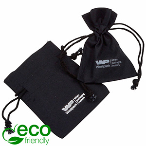 Fairtrade Cotton Jewellery Pouches, mini Black cotton with braided cord 70 x 90