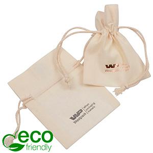 ECO Smykkepose i Fairtrade Bomuld, mini Naturfarvet bomuld med matchende flettet snor 70 x 90