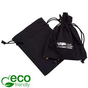 ECO Smykkepose i Fairtrade Bomuld, lille Sort bomuld med matchende flettet snor 90 x 120