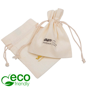 ECO Smykkepose i Fairtrade Bomuld, lille Naturfarvet bomuld med matchende flettet snor 90 x 120