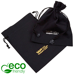 ECO Smykkepose i Fairtrade Bomuld, medium Sort bomuld med matchende flettet snor 120 x 170
