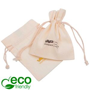 ECO Smykkepose i Fairtrade Bomuld, medium Naturfarvet bomuld med matchende flettet snor 120 x 170