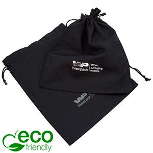 ECO Smykkepose i Fairtrade Bomuld, stor Sort bomuld med matchende flettet snor 180 x 240