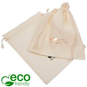 ECO Smykkepose i Fairtrade Bomuld, stor Naturfarvet bomuld med matchende flettet snor 180 x 240