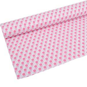 Tissue Paper with Pattern, 240 sheets White with pink dots 760 x 505 17 gsm