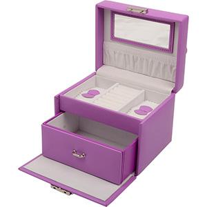 Nr. 815 - Bijouxdoos met 1 laatje Violet kunstleer / Wit velours voering 150 x 120 x 120