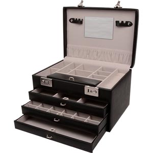 No. 819 - Black Jewellery Case with 3 Drawers