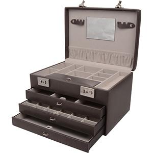 Coffret à bijoux moderne avec 3 tiroirs, N°820 Similicuir gris foncé/ intérieur velours gris 300 x 215 x 188