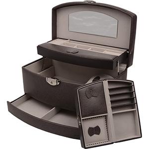 Coffret à bijoux avec étui de voyage N°. 822 Similicuir gris foncé/ intérieur velours gris 282 x 173 x 149