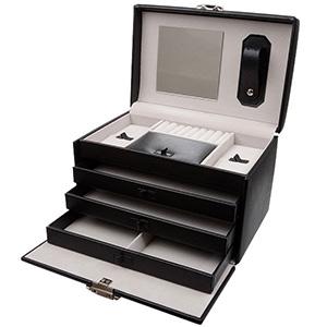 Coffret à bijoux avec étui de voyage, N°. 825 Similicuir noir / velours créme 223 x 160 x 155