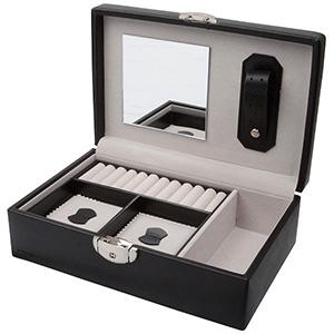 Coffret à bijoux avec serrure,N°. 826 Similicuir noir / velours créme 245 x 160 x 75