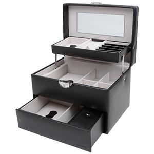 Coffret à bijoux avec tiroir automatique, N°. 831 Similicuir noir / velours gris 225 x 165 x 155