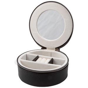 Nr.832 Smyckeskrin Svart PVC med dragkedja / Krämfärgat velourinsats 130 x 130 x 50