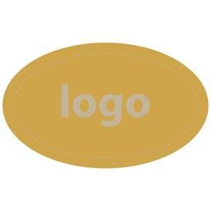 Etiket met logo 002 - Ovaal Mat goudkleurig etiket met uw logobedrukking 39 x 24