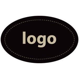 Adhesive Logo Label 002 - Oval Matt Black Sticker with Custom Logo Print 39 x 24