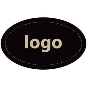 Etiket met logo 002 - Ovaal Mat zwart etiket met uw logobedrukking 39 x 24
