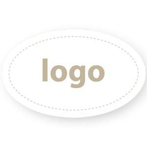 Etiket met logo 002 - Ovaal Mat wit etiket met uw logobedrukking 39 x 24