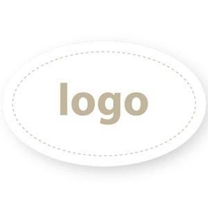 Adhesive Logo Label 002 - Oval Matt White Sticker with Custom Logo Print 39 x 24