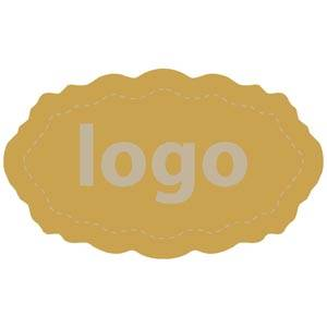 Adhesive Logo Label 003 - Oval, scalloped edge
