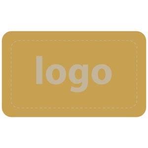 Firkantet klistermærke med logotryk - 005 Mat guld label trykt med dit eget logo 32 x 19