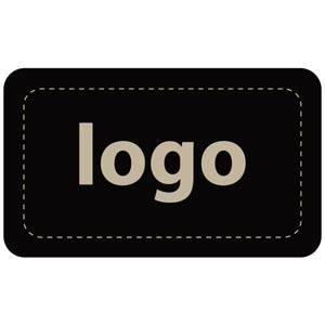Firkantet klistermærke med logotryk - 005 Mat sort label trykt med dit eget logo 32 x 19