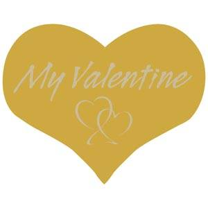 Hjerteformet klistermærke: My valentine Mat guld label  28 x 22