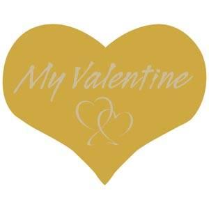 Voorgedrukt etiket My valentine, hartvormig Mat goudkleurig etiket met bedrukking 28 x 22