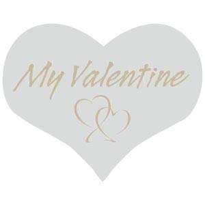 Hjerteformet klistermærke: My valentine Mat sølv label  28 x 22