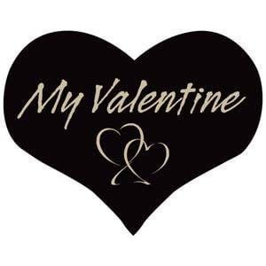 Etiquettes adhésives - Coeur My Valentine Noir 28 x 22