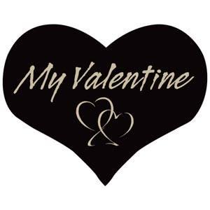Hjerteformet klistermærke: My valentine Mat sort label  28 x 22