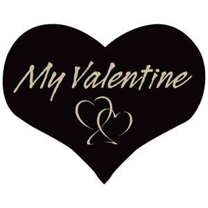 Klisterm-hjärta, My valentine Svart 28 x 22