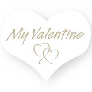 Hjerteformet klistermærke: My valentine Mat hvid label  28 x 22