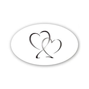 Ovalt klistermærke trykt med hjerter Blank transparent label 39 x 24